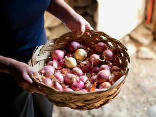 There is short supply of onion as much of the stored onions of last year's crop are exhausted and new crop from South India is yet to arrive in huge quantities.