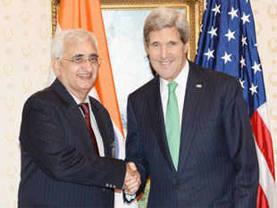 US State Secretary John Kerry meets with Indian Foreign Minister Salman Khurshid for a bilateral meeting during the 68th United Nations General Assembly, in New York on September 25, 2013.