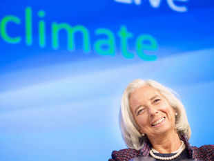 File image shows IMF Managing Director Christine Lagarde participating in a seminar: The Economic Case for Climate Action on Oct. 8, 2013, at the World Bank in Washington.