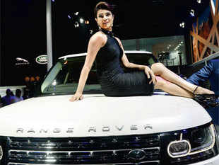 Actress Priyanka Chopra during the launch of JLR's Range Rover LWB at the Auto Expo in Greater Noida on Wednesday