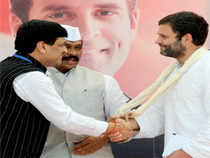 AshokChavan shared the dais with Rahul Gandhi and felicitated the leader amidst applause from his partymen in the Marathwada region of Maharashtra.