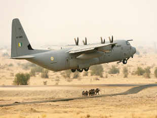 "A C130 J ""Super Hercules"" transport aircraft with five personnel on board crashed near Gwalior Friday morning."