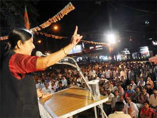 After the public meet in Chandni Chowk, Swaraj addressed another one in Sadar Bazaar in Delhi Cantt, part of Meenakshi Lekhi's constituency.