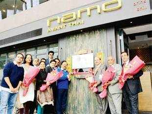 The restaurant came to life in 2002 when Narendra Modi started grabbing headlines and is ensconced in the vicinity of six top hotels in Hong Kong.In pic: BJP leader Harsh Vardhan with promoters at Namo restaurant in Hong Kong.