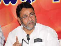NCP leader Nawab malik during meet the press at patarakar bhavan in Nagpur.