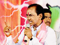 Karimnagar: TRS President K Chandra Sekhar Rao addresses an election meeting in Karimnagar district of Telangana on Sunday.