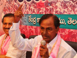 """""""Our first choice at the Centre is UPA. If it's not in a position to form government, we will support the third front. But we won't support the NDA at any cost,"""" KCR said at a press conference."""