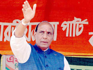 """Addressing a press conference at Varanasi, Rajnath Singh appealed to the voters to """"give us a clear majority for ensuring a stable government."""""""