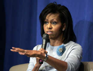 Michelle Obama speaks during a forum in Richmond. (AP)