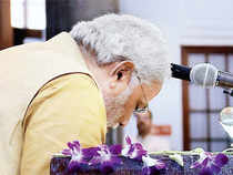 Later, addressing party MPs, Modi broke down, paused, asked for a glass of water and then continued in a voice choked with emotion.
