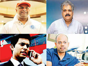 AirAsia's founder Tony Fernandes (top left) & India CEO Mittu Chandilya (bottom left) revel in spotlight, grabbing consumer attention through tweets & selfies. Indigo's founder-CEO duo Rahul Bhatia (top right) & Aditya Ghosh (bottom right) is closely bound by similar working styles.