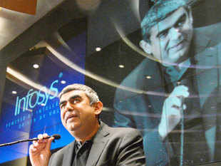 Newly appointed Infosys Chief Executive Officer Vishal Sikka speaks during a news conference at the company's headquarters in Bangalore June 12, 2014.