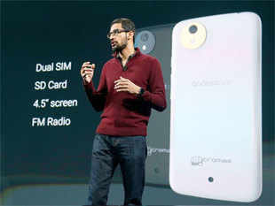 Sundar Pichai, senior vice president of Android, Chrome and Apps, speaks about the Android One phone during the Google I/O 2014 keynote presentation. (AP)