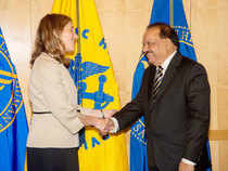 """The Narendra Modi led-govt is planning to bring about a """"complete transformation"""" of the health sector and is working on the same, said Harsh Vardhan.In pic: Union Health Minister Harsh Vardhan shakes hands with Sylvia Mathews Burwell, US Secretary of Health in Washington."""