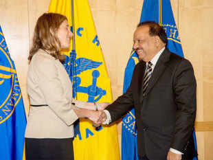"The Narendra Modi led-govt is planning to bring about a ""complete transformation"" of the health sector and is working on the same, said Harsh Vardhan.In pic: Union Health Minister Harsh Vardhan shakes hands with Sylvia Mathews Burwell, US Secretary of Health in Washington."