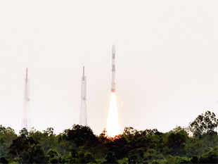 The PSLV C23 blasting off from the Satish Dhawan Space Centre, Sriharikota.