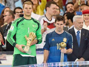 Argentina captain Lionel Messi won FIFA's 'Golden Ball' award while Germany goalkeeper Manuel Neuer was awarded the Golden Gloves as the tournament's top keeper.