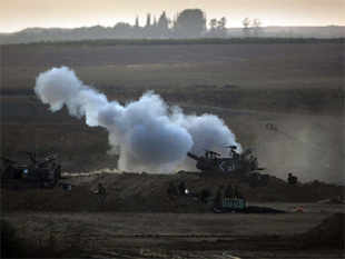 Israeli shelling in Gaza.