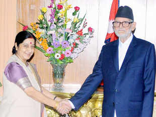 Ram Baran Yadav and Sushil Koirala during separate meetings with the visiting Sushma Swaraj hailed efforts by India's new government to improve relations.