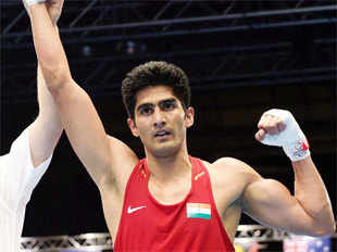 Vijender, the 2008 Olympic bronze-medallist, outclassed Trinidad and Tobago's Aaron Prince, winning 3-0 on points in a unanimous decision.