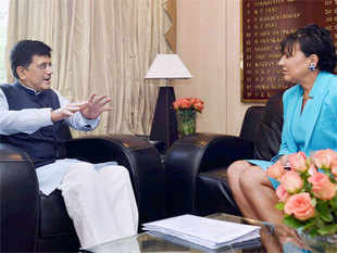 Piyush Goyal met with US Secretary of Commerce Penny Pritzker to explore collaboration opportunities in energy technology.