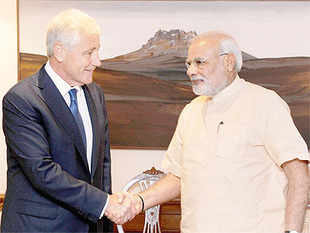 Hagel, in New Delhi a week after John Kerry made his trip to India, was told that Modi government would like to boost defence partnership beyond a buyer-seller relationship, according to official sources.