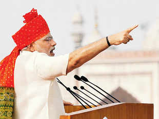 """Calling himself the """"Pradhan Sevak"""" (chief servant) of the country, the PM seemed to make a case for economic nationalism with a call to focus on manufacturing."""