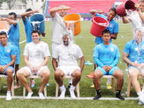 Bengaluru FC players taking the Ice bucket challenge. 10 executives of SPAG, a Gurgaon based company, also took the ice bucket challenge on Tuesday.