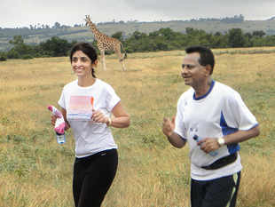Uma and Krishna Prasad Chigurupati running in Kenya June 21, 2010