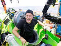 James Cameron coming out of the DEEPSEA CHALLENGER after the world record solo dive to Challenger Deep, lowest spot of Mariana Trench in 2012.