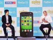 CEO Spice Mobility, Prashant Bindal and Senior Director Mozilla, James Ho interact with media at a smartphone launch in New Delhi on Friday.