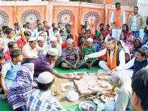 This was a fallout of a meeting between RSS leaders and Modi during which the PM is said to have expressed his annoyance at the campaign that took the focus away from development.In pic: Members of Hindu organisations perform a ceremony for the conversion of Muslim families in Agra. (File photo)