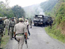 The site of the ambush on the Army vehicle in Manipur.