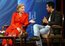 US Secretary of State Hillary Clinton and Teach India ambassador Aamir Khan interact during a TV show in Mumbai. Click on picture...