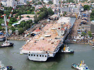 In pic: India's first indigenous aircraft carrier INS Vikrant after undocking from Cochin Shipyard after completion of structural work.