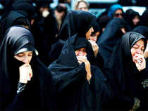 Iranian women mourn during a funeral procession for some of the Iranian pilgrims who were killed in a stampede at the annual hajj on October 4, 2015 in the capital Tehran.