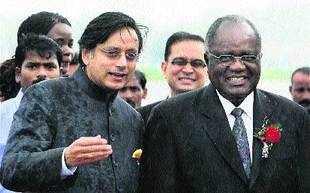MoS for external affairs Shashi Tharoor welcomes Namibian president Hifikepunye Pohamba in New Delhi