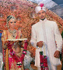 India's greatest swayamwar came to a grand culmination as Bollywood siren Rakhi Sawant got engaged to Toronto based NRI Elesh Parujanwala in Mumbai. (PTI)