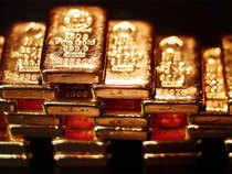 Gold prices gained at the domestic bullion market here on sustained buying from jewellery stockist and traders on the back of higher global cues