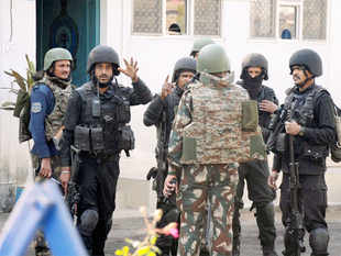 Security forces personnel inside the Pathankot Air Force base after the end of the military operation against militants on January 5.
