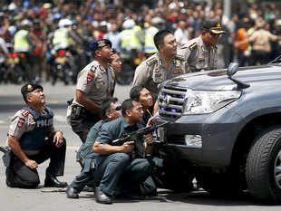 Indonesian police shot dead four suspected militants who were part of a bomb and gun attack in the capital, Jakarta, on Thursday.