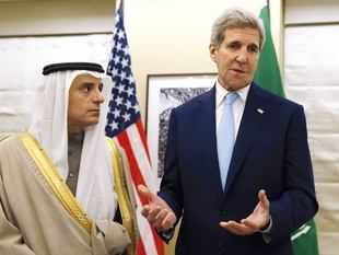 US Secretary of State John Kerry (R) is pictured during a meeting with Saudi Arabia Foreign Minister Adel al-Jubeir in central London.