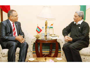 Defence Minister Manohar Parrikar and his Maldivian counterpart Adam Shareef in a meeting in New Delhi.