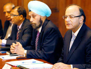 FM Arun Jaitley, right, speaks alongside Navtej Sarna, Indian High Comissioner to the UK, during the 8th Uk-India Economic and Financial Dialogue, at Downing Street in London,