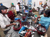 While startups (especially digital startups) are glamorous, SMEs are the growth backbone of any nation and primary drivers of job growth.  In pic: Workers engaged in manufacturing wet grinders at a facility in Coimbatore.