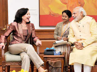 Prime Minister Narendra Modi with Oracle Global CEO Safra Catz during a meeting in New Delhi.