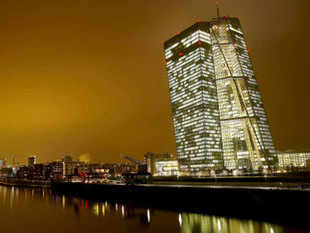 The new headquarters (R) of the European Central Bank (ECB) is pictured in Frankfurt. The euro area bank sector is more resilient than at the height of Europe's crisis in 2012, Daniele Nouy, the European Central Bank's top banking supervisor said.