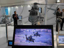 File photo: A model of a Eurocopter on display at a stall at the Defnce Expo 2010, 6th International Land and Naval Defence Systems Exhibition, at Pragati Maidan in New Delhi.