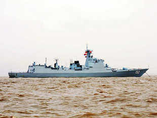 In pic:The Chinese navy's Luyang II Class guided missile destroyer Jinan made a port call at the Mumbai harbour on July 20, 2015.