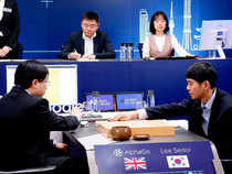 The worldOs top Go player Lee Sedol puts his first stone during the last match of the Google DeepMind Challenge Match against Google's artificial intelligence program AlphaGo.